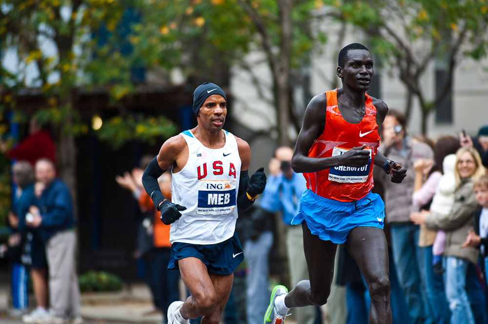 Drafting on Cheruiyot down Fifth Avenue
