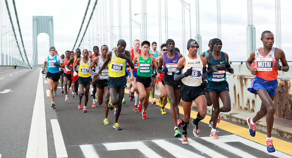 Making his way across the Verrazano-Narrows Bridge for the eighth time