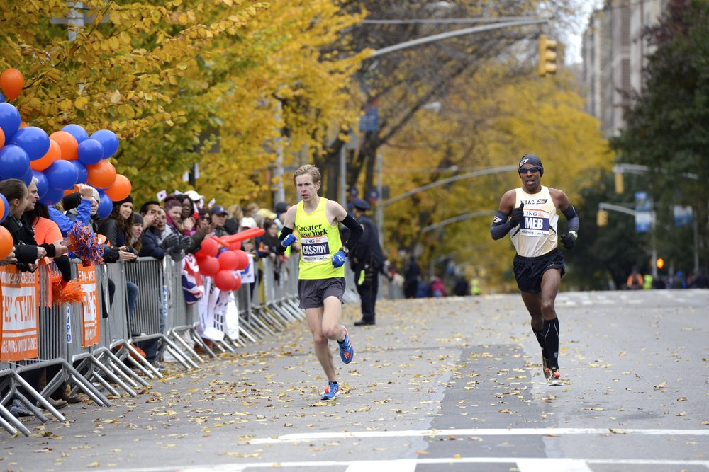 Cassidy and Keflezighi on the approach into Central Park