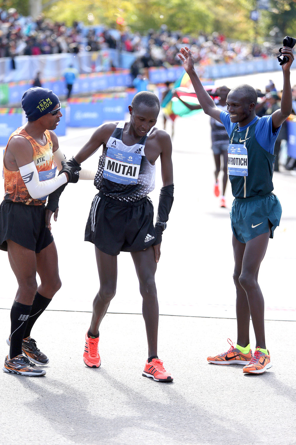 Keflezighi, joined by Stephen Kiprotich, returns the favor for 2011 and 2013 New York City Marathon champion Geoffrey Mutai