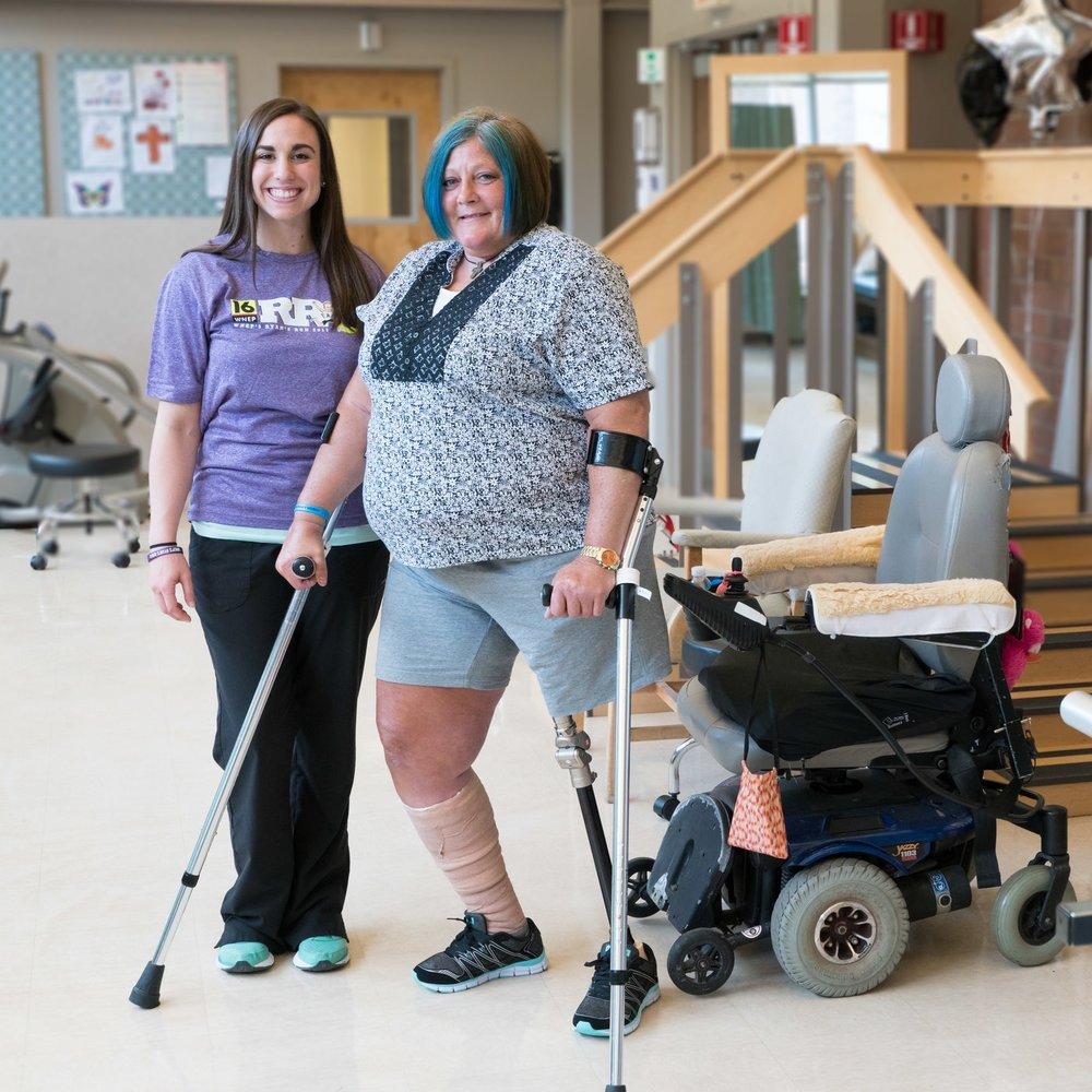 Physical therapist Jaclyn Henry (left) is dedicating her marathon to her patient Colleen Birmelin (right).