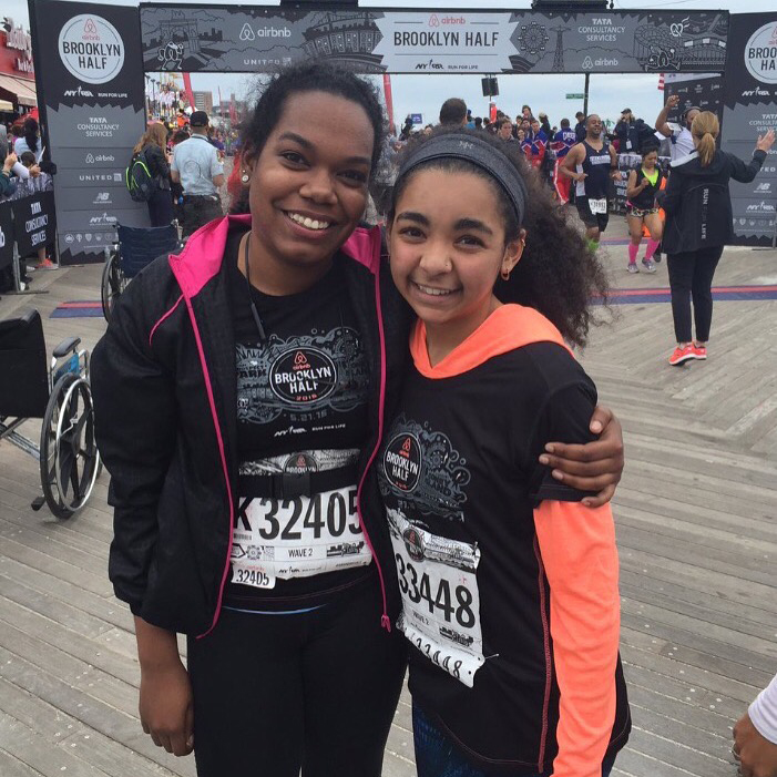 Patricia (left) and Lexi (right) are all smiles after finishing the 2016 Airbnb Brooklyn Half.