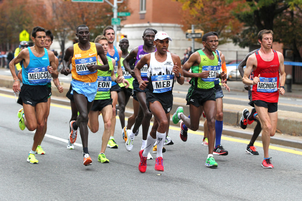 Keflezighi at the front of the lead pack in Brooklyn