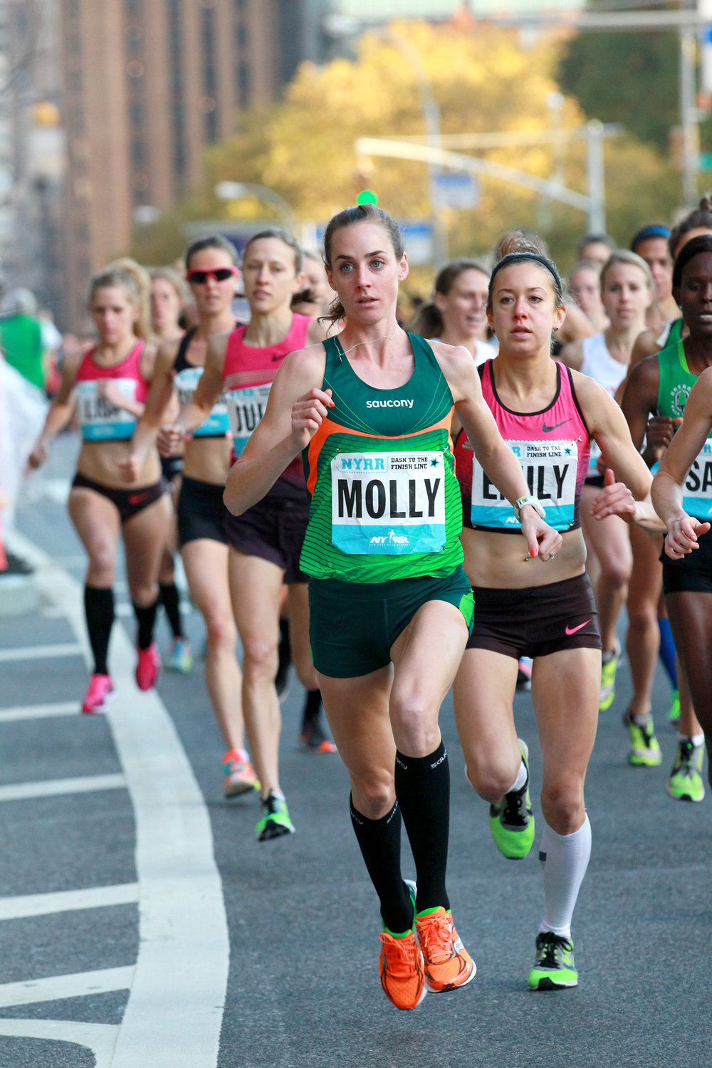 Molly Huddle holds the Dash to the Finish Line 5K event record of 15:27 (2013).