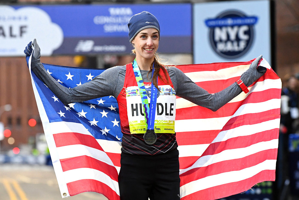 No stranger to racing in NYC: Huddle is a three-time United Airlines NYC Half defending champion.