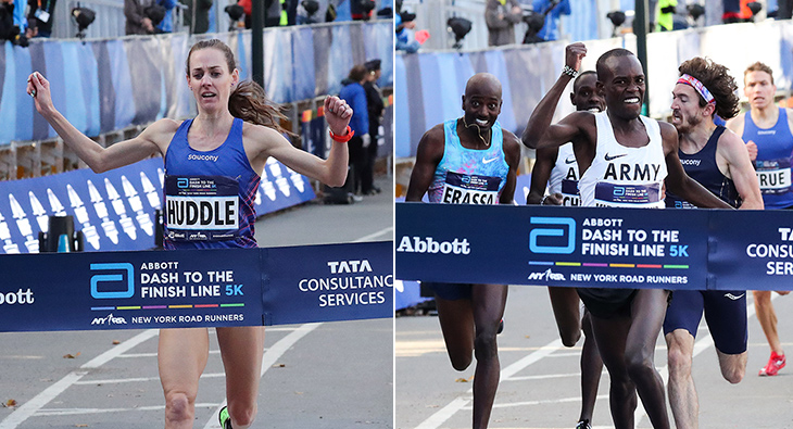 Molly Huddle and Shadrack Kipchirchir break the tape in Central Park at the 2017 USATF 5K Championships.