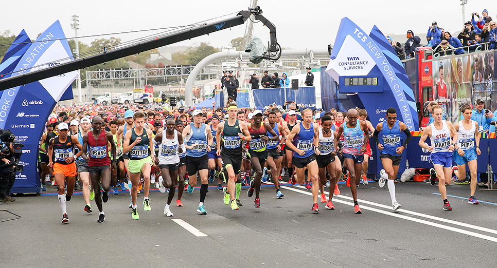 Keflezighi starting his last run across the Verrazano-Narrows Bridge in the professional field.