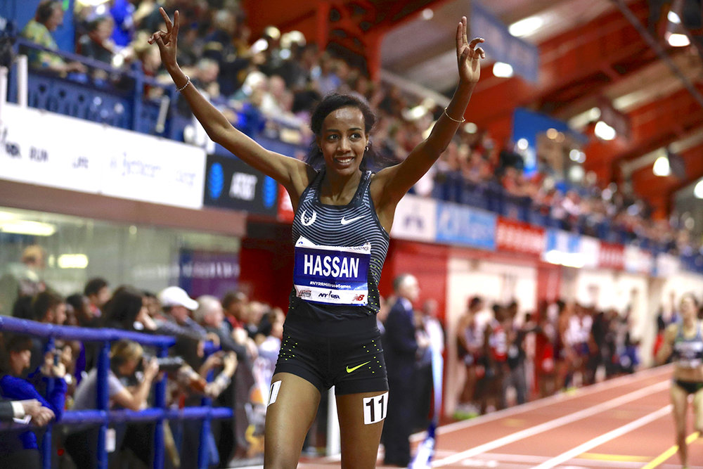 Sifan Hassan - NetherlandsHer 4:19.19 in her NYRR Wanamaker Mile victory was an NYRR Millrose Games record and the fastest indoor mile run in the world in 2017.