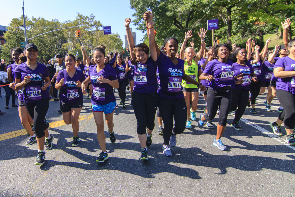 Burlyn Andall-Blake celebrates her first 5K at the Percy Sutton Harlem 5K Run in August.