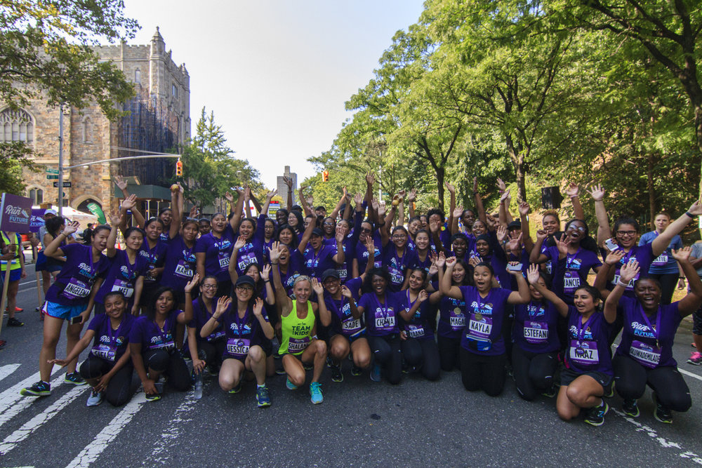Shalane Flanagan took part in the Percy Sutton Harlem 5K Run alongside 85 NYRR Run for the Future participants.