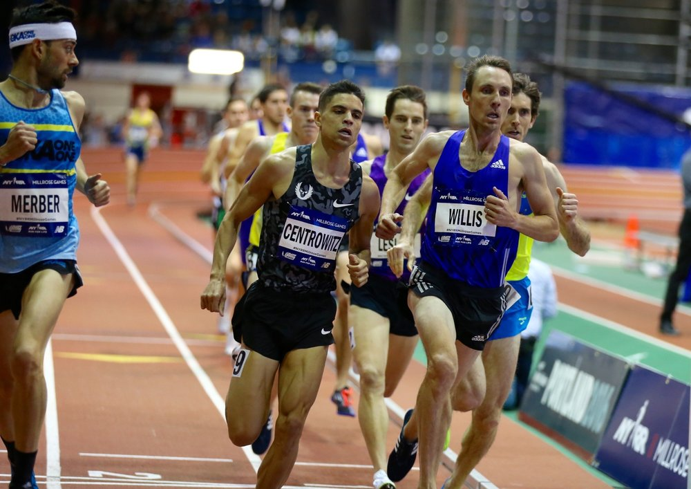 With 400 meters to go, Nick Willis had the lead in the 2016 NYRR Wanamaker Mile.