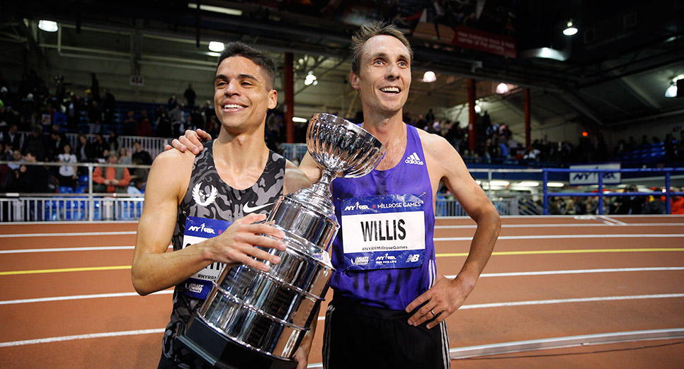 Matthew Centrowitz took first at the 2016 NYRR Wanamaker Mile; Willis was runner-up.