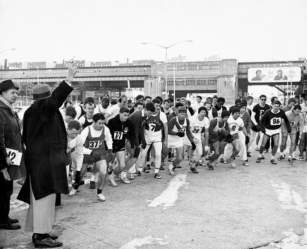 The start of the fifth annual Cherry Tree Marathon, February 24, 1963, near Yankee Stadium in the Bronx.