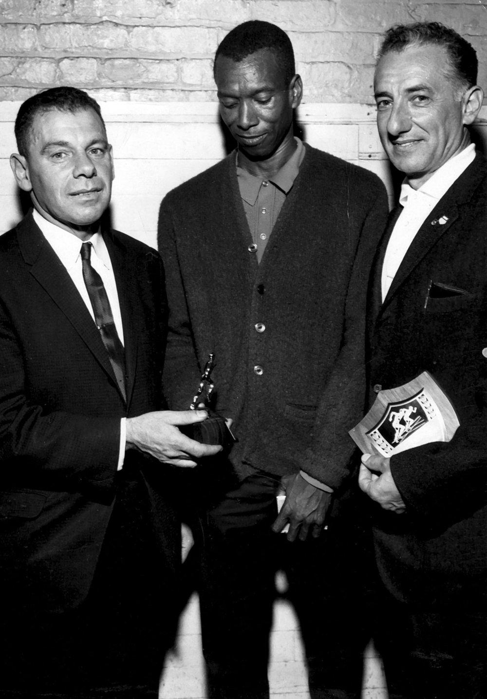 Founding members Kurt Steiner, Ted Corbitt (president 1958-60), and Aldo Scandurra (president 1964-66).
