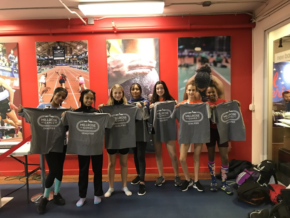 Seven of the 15 girls who will compete in the Rising New York Road Runners 800m at the 2018 NYRR Millrose Games. Left to right: Crystal, Karess, Zoe,  Giselle ,  Leila , Susan, and  Xion