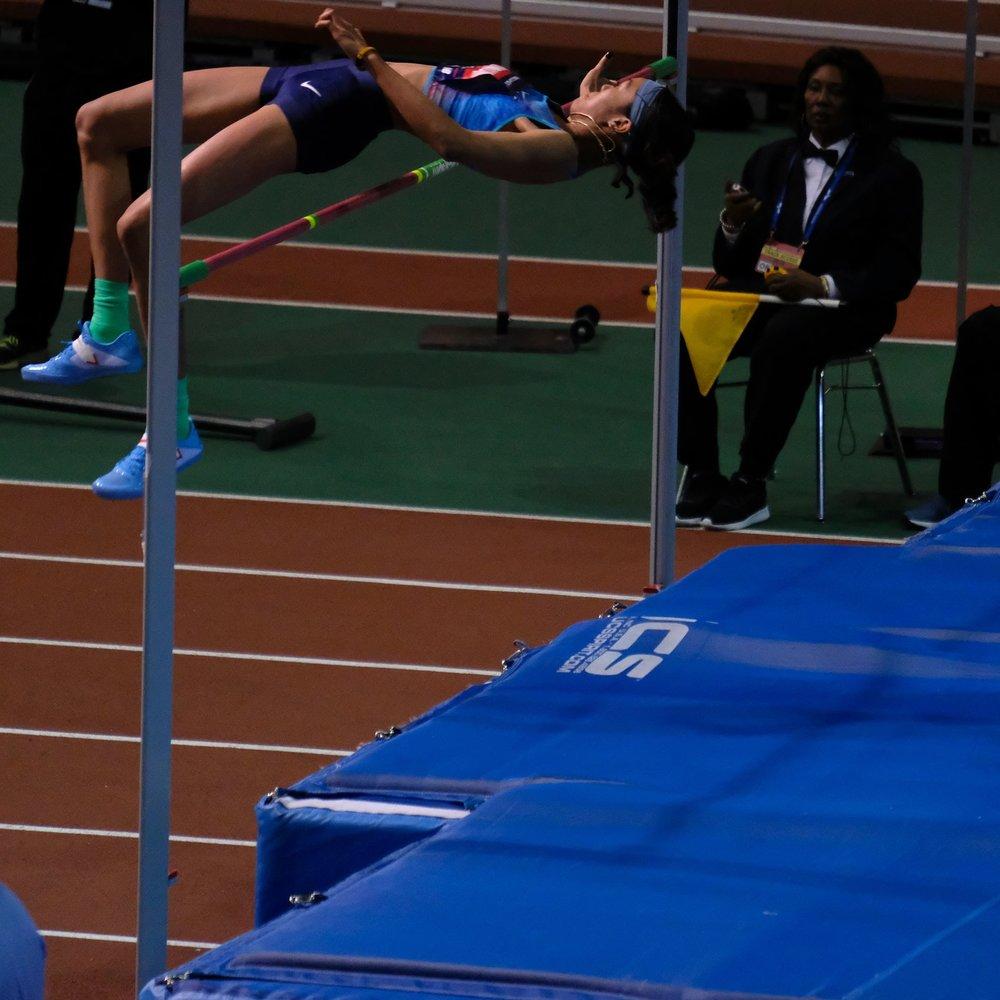 Vashti Cunningham soars over the bar in the women's high jump.