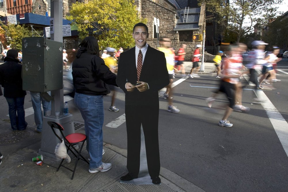 2008: I t's pretty crazy how only two days before the election, then-Senator Barack Obama was out cheering on runners.