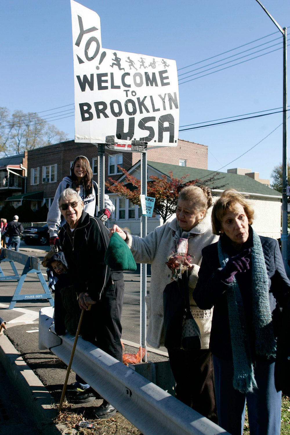 "2010:  Years before the ""OY/YO"" sculpture came to Brooklyn, these folks were welcoming runners to the other side of the Verrazano."