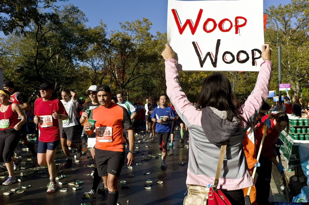 "2011:  When you can't call out to runners by name, and you're not sure what else to say, you can't go wrong letting out a ""Woop Woop!"""