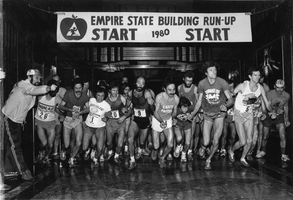 Stair climbers jockey for position at the second running of the Empire State Building Run Up.