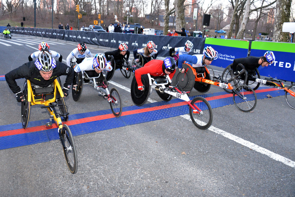 Racers set off for the first edition of the professional wheelchair race at the NYC Half.