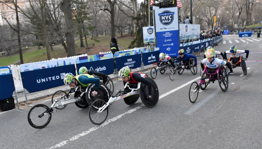 The 2016 United Airlines NYC Half added separate starts for the men's and women's professional wheelchair athlete fields.