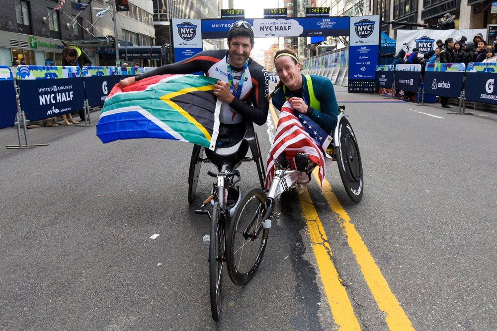 The 2016 United Airlnes NYC Half wheelchair division champions: Ernst van Dyk of South Africa and Tatyana McFadden of the United States.