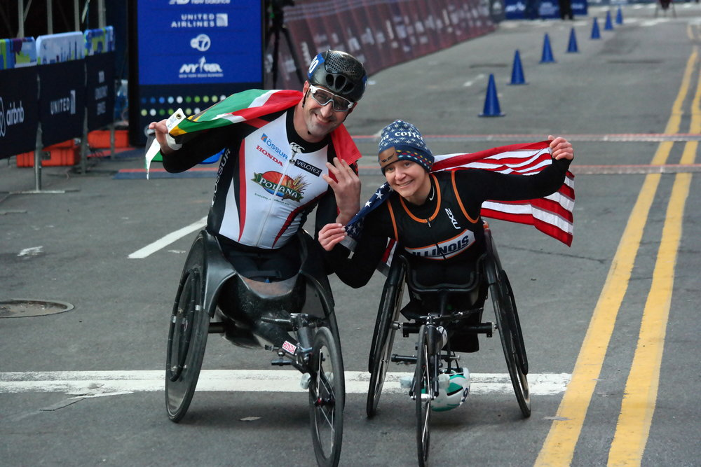 Ernst van Dyk of South Africa and Susannah Scaroni of the United States, the 2017 United Airlines NYC Half professional wheelchair division champions.