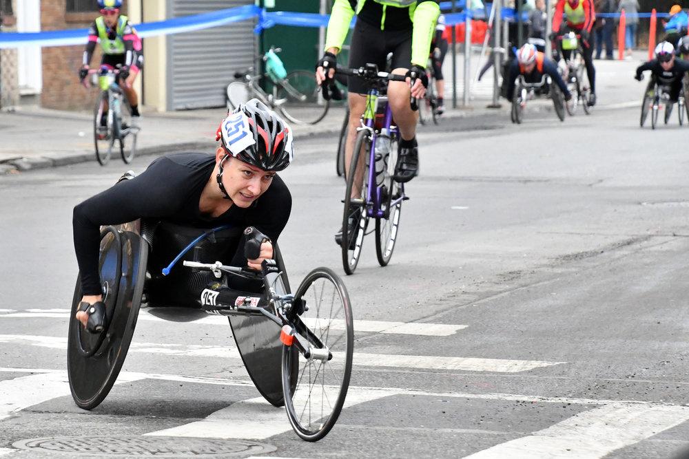 Manuela Schär of Switzerland leads the field at the 2017 TCS New York City Marathon.
