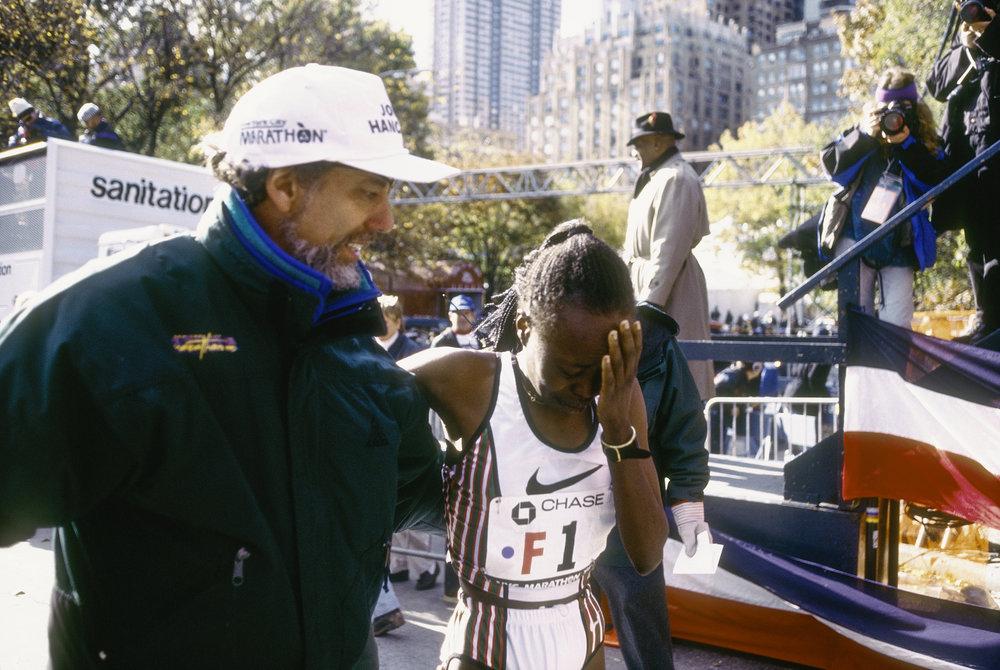 Allan Steinfeld congratulates 1995 New York City Marathon champion Tegla Loroupe.