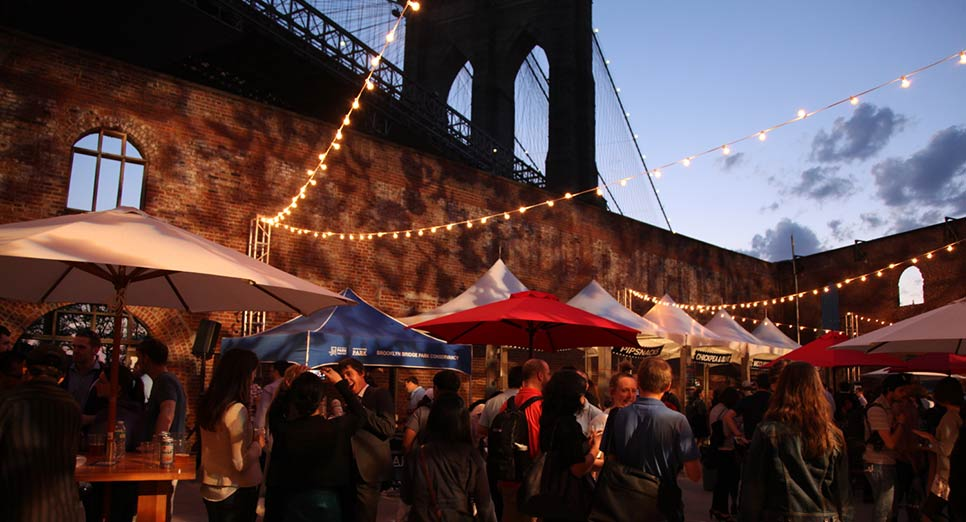 The first Pre-Party, in 2013, took place at the Tobacco Warehouse in Brooklyn Bridge Park.