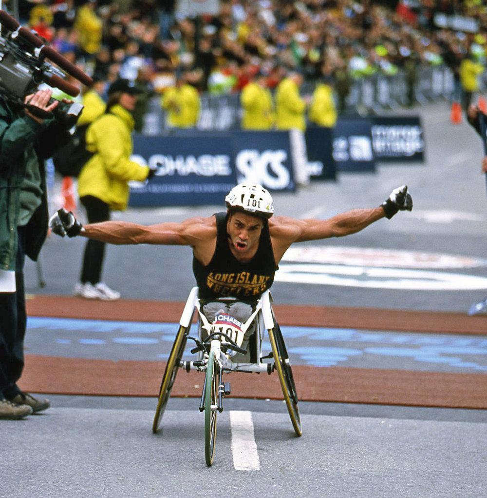 Kamel Ayari wins the men's wheelchair division at the 2000 New York City Marathon.