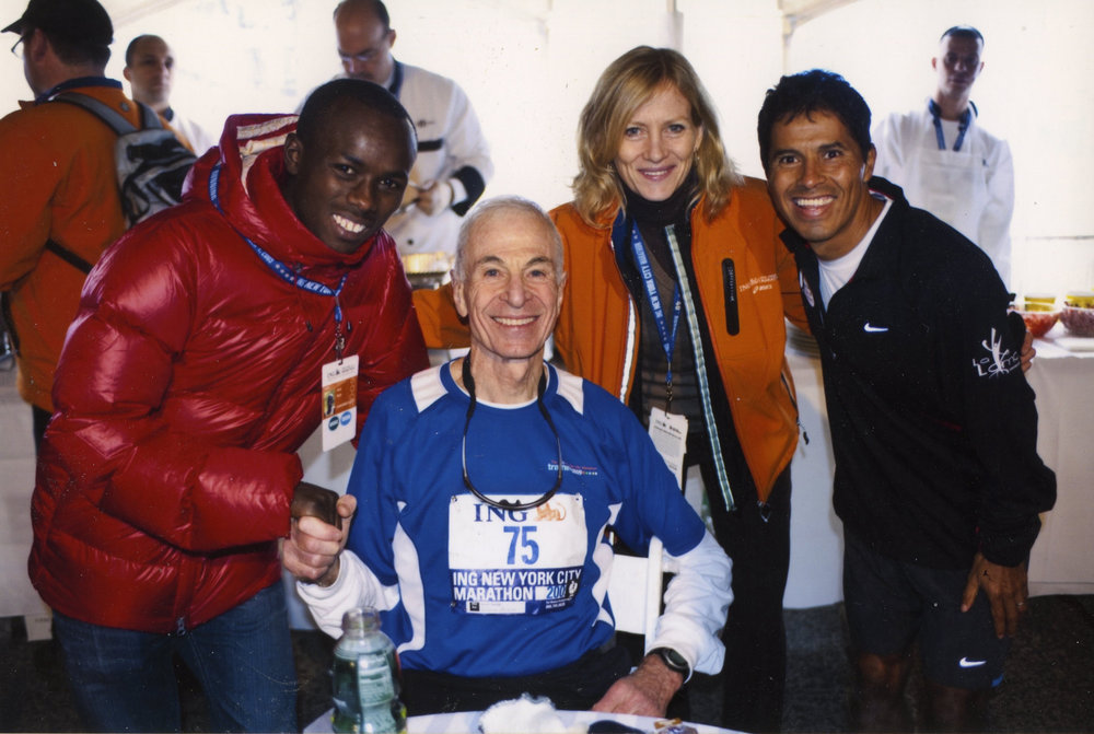 George Hirsch (seated) placed first in his age group at the 2009 New York City Marathon.