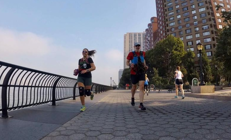 Rachel and her dad training together along the Hudson