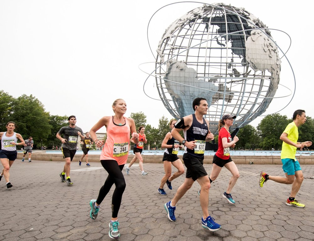 The NYRR Queens 10K, part of the NYRR Five-borough Series, circles the iconic Unisphere in Flushing Meadows Corona Park.