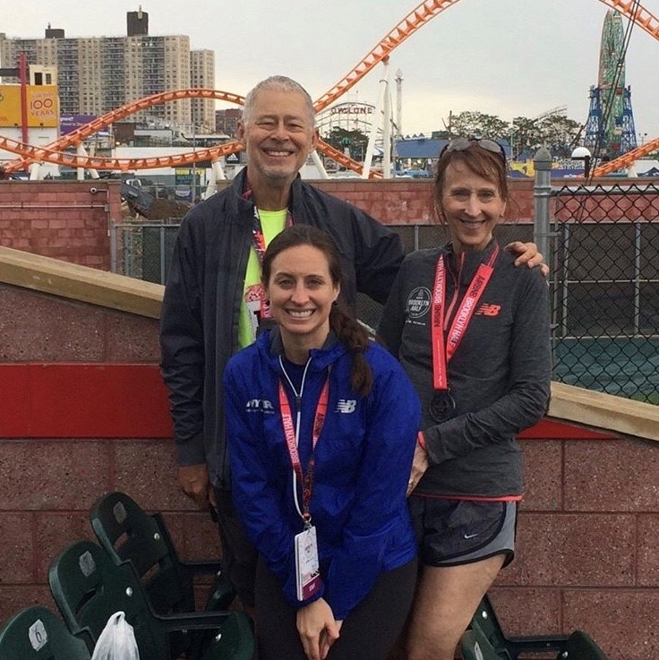 Anne with her parents after the 2017 Brooklyn Half