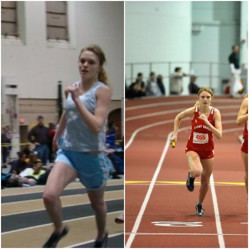 Katie as a runner in high school (2009) and college (2012)
