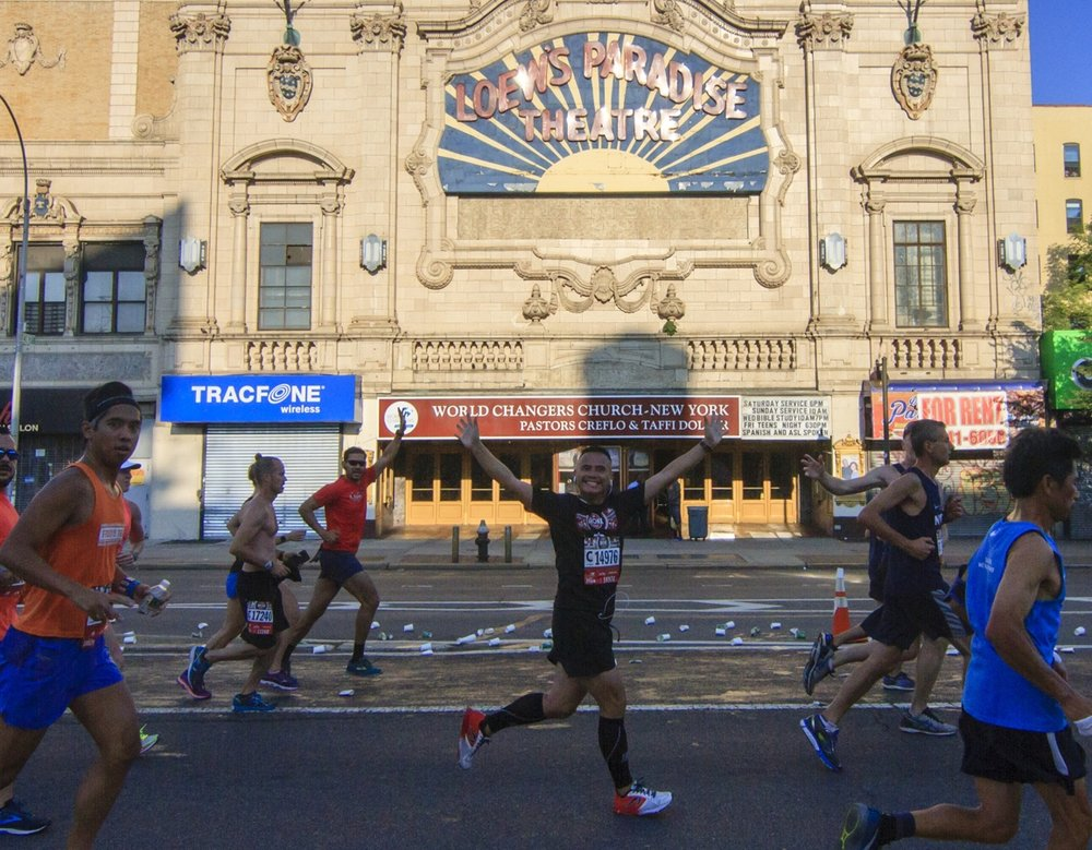 The NYRR Bronx 10 Mile course, inaugurated in 2012, passed the historic Paradise Theatre...