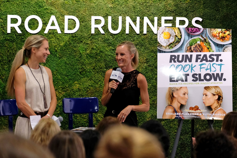 Elyse Kopecky (left) and Shalane Flanagan (right) speak to the NYRR  RUN CENTER audience about their new book,  Run Fast. Cook Fast. Eat Slow .