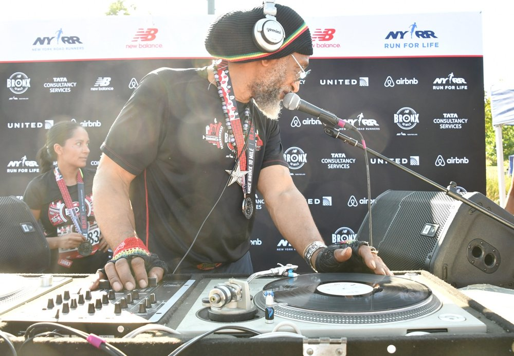 DJ Kool Herc spun tunes at the 2017 New Balance Bronx 10 Mile.