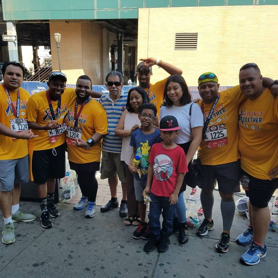The Hernandez family greeted the runners at the finish and celebrated with them afterward.