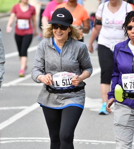 Schwartz running in the 2017 SHAPE Women's Half-Marathon. She'll be back running the event in Central Park again this April.