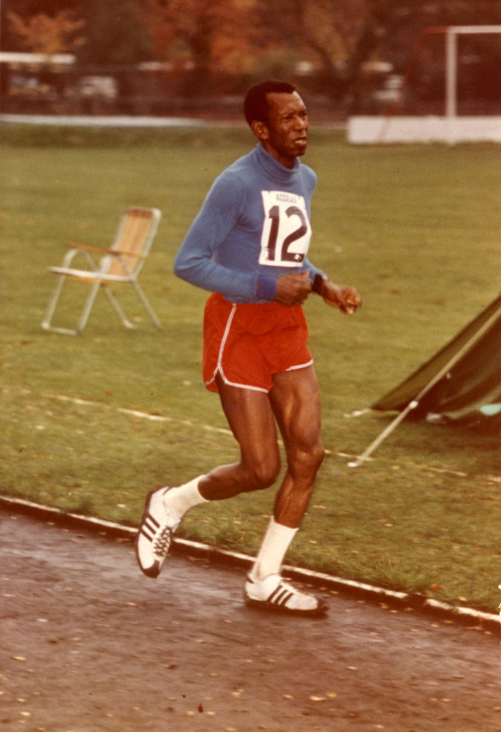 Ted Corbitt setting an American record for the 24-hour distance in 1973.