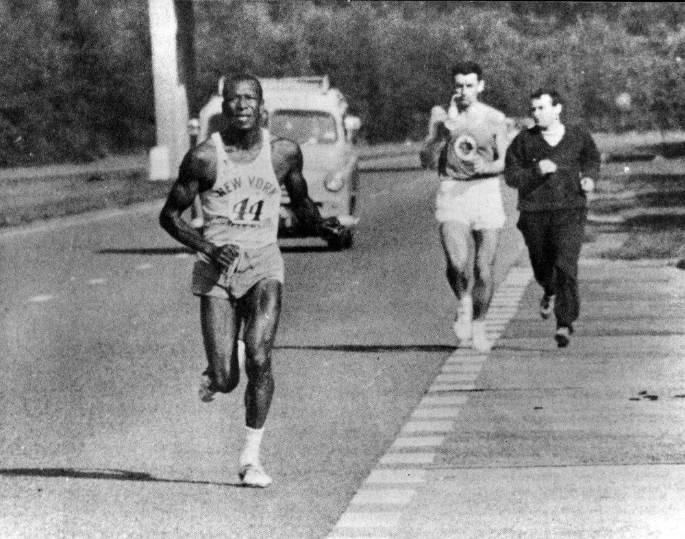 Ted Corbitt competing in the London-to-Brighton ultramarathon race.