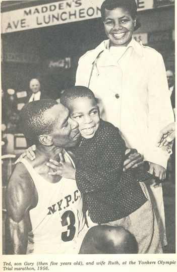 Gary Corbitt with his parents after the 1956 Yonkers Marathon.