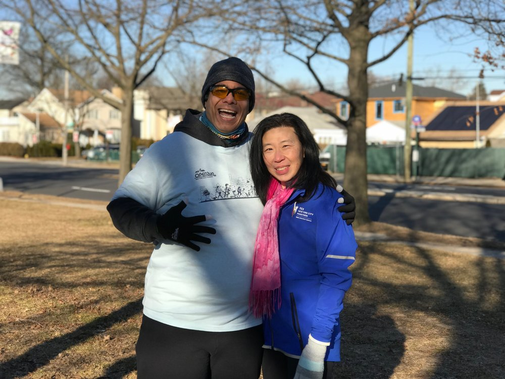 Mario with Nora Lew at a recent Open Run in Cunningham Park.