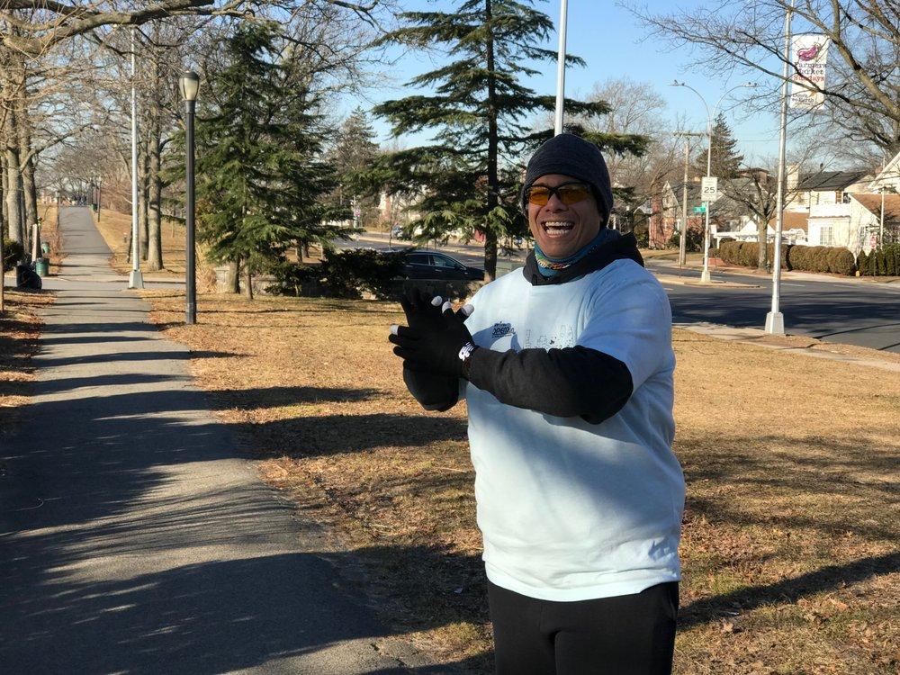 Mario cheers on his Cunningham Park Open Run community.