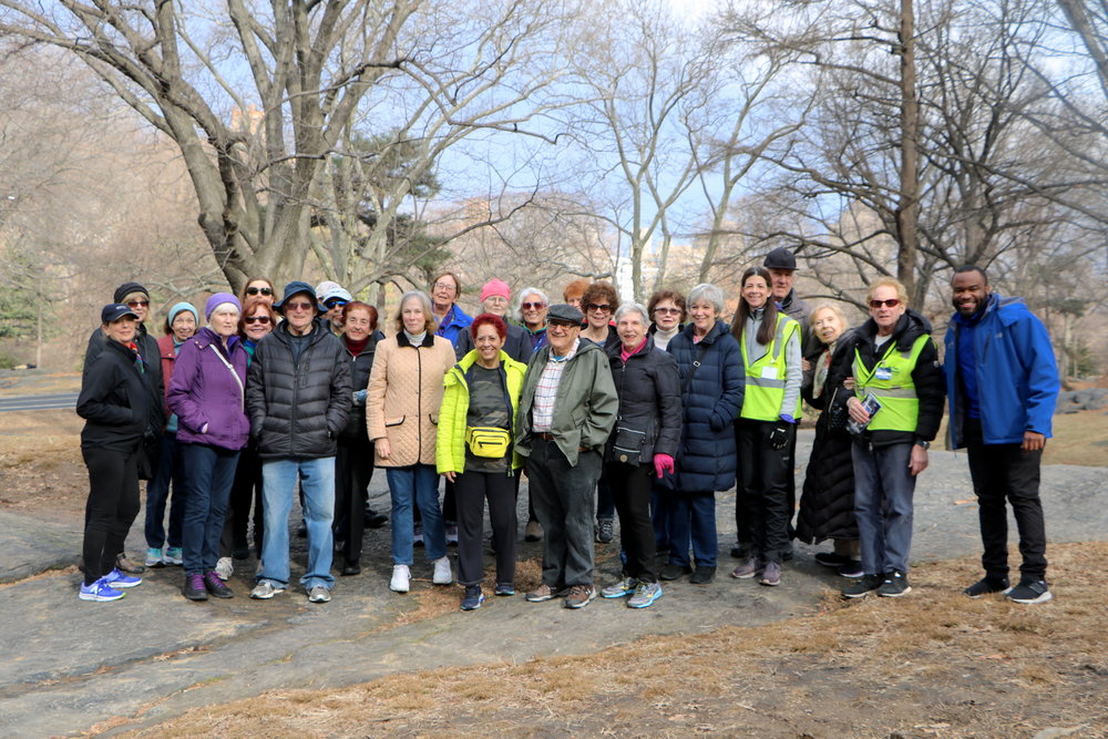 The Engineers' Gate Striders group, including Monte (in rain hat), program manager Wesley Davis (right), and Striders coaches Renee Gilbert and Bill Silver (in safety vests).