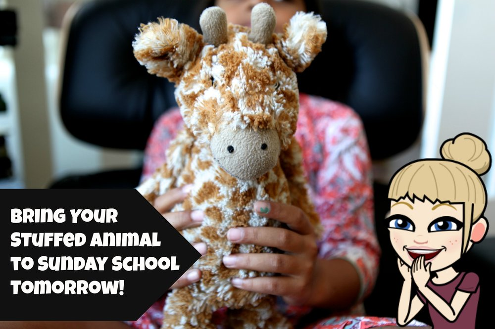 Help us tell the story by bringing your favourite stuffed animal to Sunday school this week!