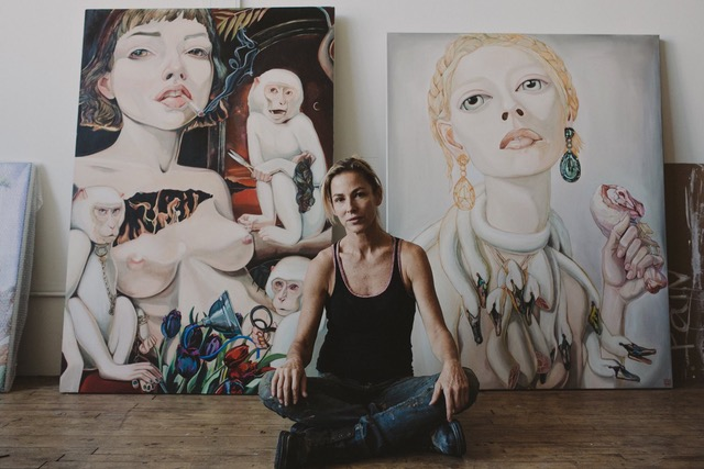 Artist Lena Viddo in her painting studio - Image Courtesy of Love Medicine